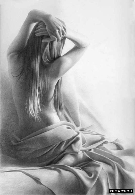 рисунки карандашом женщин: