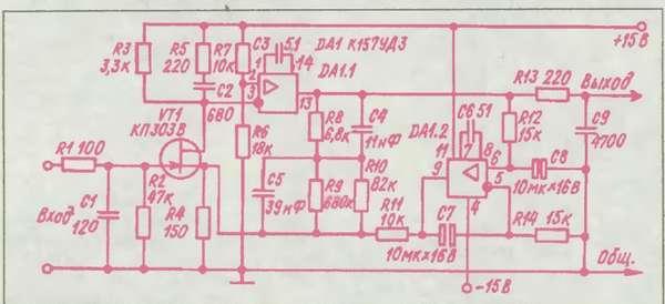 В схема коррекция ОУ DA1.1