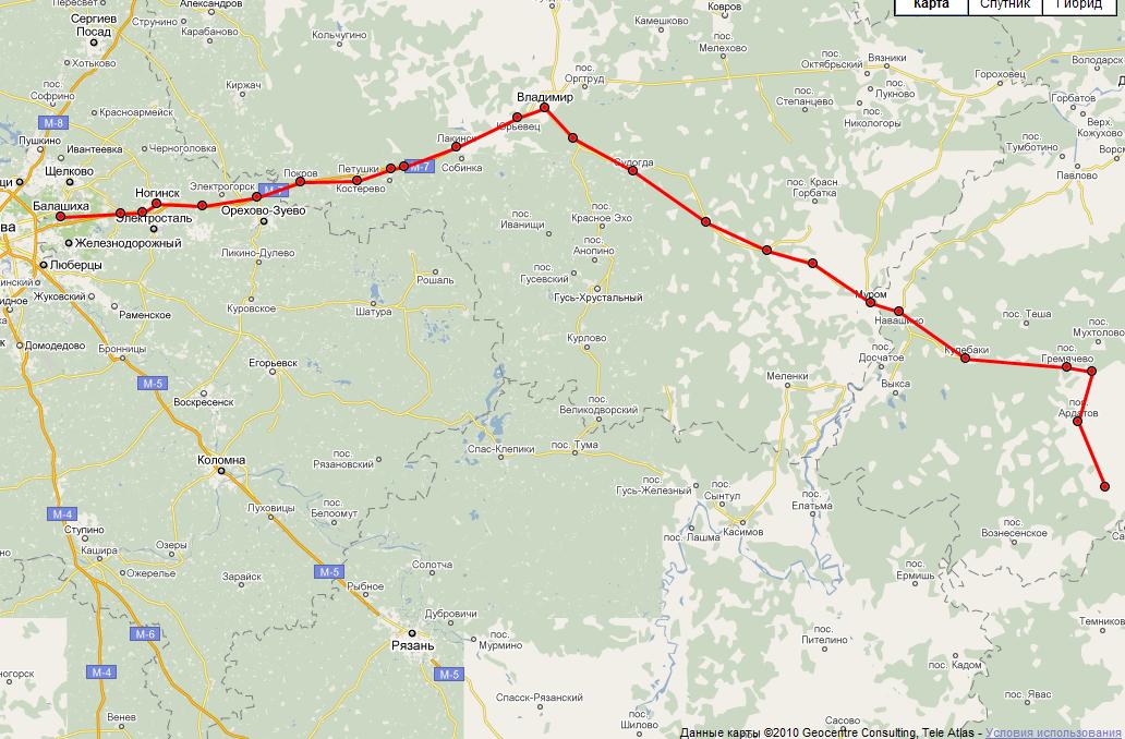 Карта Расстояние ~ 456 км.