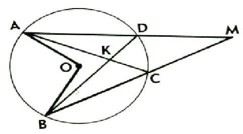 МА и МВ - секущие , АС и ВД- хорды окружности с центром О . Докажите , что угол АОВ = углу АКВ+ угол АМВ.