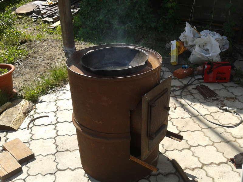 Как сделать печку из бочки 200 литров