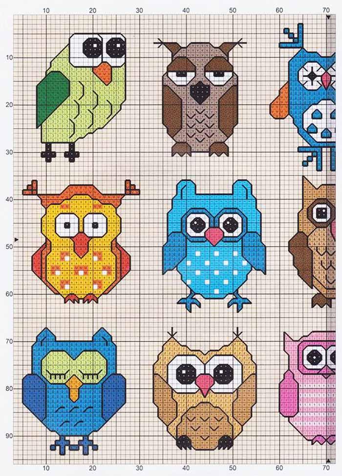 Маленькие схемы для вышивки совы