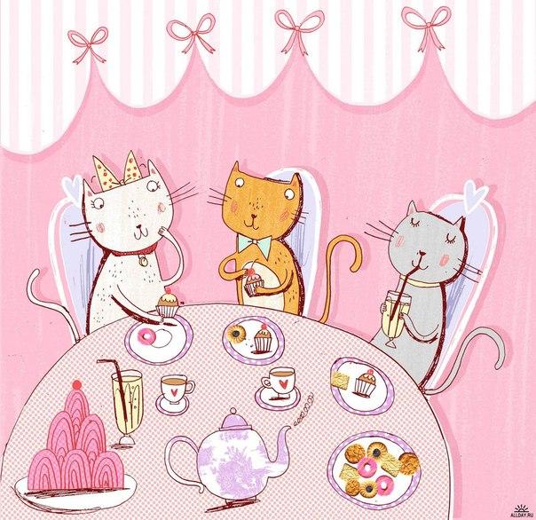 Картинки веселые котята пьют чай с тортом