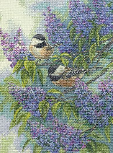 Chickadees and Lilacs