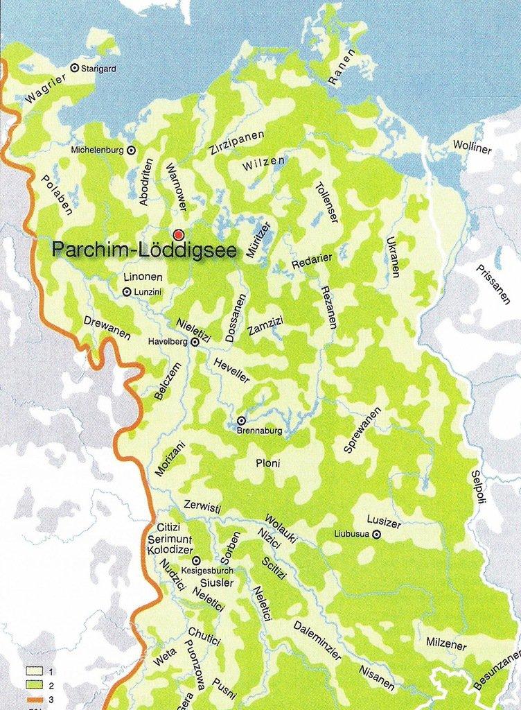 Торговое поселение Scharcyn на берегу озера Лёддиг.