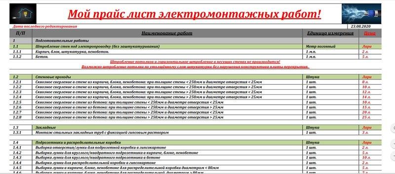 Поиск программы для создания прайс листа работ